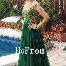 Green Applique Prom Dress,A-Line Prom Dresses,Evening Dress