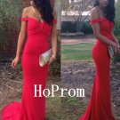 Off Shoulder Prom Dress,Red Prom Dresses,Evening Dress
