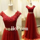 V-Neck Prom Dress,Red Applique Prom Dresses,Evening Dress