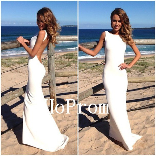 White Satin Prom Dress,Sheath Long Prom Dresses,Evening Dress