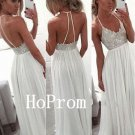 Spaghetti Straps Prom Dress,Long White Prom Dresses,Evening Dress