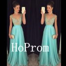V-Neck Prom Dress,Sleeveless Prom Dresses,Evening Dress