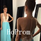 Sleeveless Prom Dress,V-Neck Prom Dresses,Long Evening Dress
