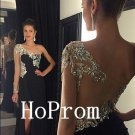 One Shoulder Prom Dress,Black Prom Dresses,Evening Dress
