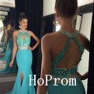 Blue Halter Prom Dress,Applique Prom Dresses,Evening Dress