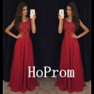 A-Line Prom Dress,Ruby Sequins Prom Dresses,Evening Dress