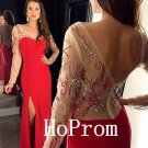 Long Sleeve Prom Dress,Red Prom Dresses,Evening Dress