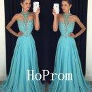 Sweetheart Prom Dress,Halter Prom Dresses,Blue Evening Dress