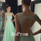 Light Green Prom Dress,Beading Prom Dresses,Long Evening Dress