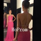 Open Back Prom Dress,Hot Pink Prom Dresses,Evening Dress