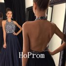 Halter Prom Dress,A-Line Prom Dresses,Long Evening Dress