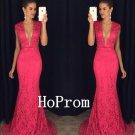 Mermaid Lace Prom Dress,Plunging Neck Prom Dresses,Evening Dress