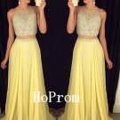 Two Piece Prom Dress,Beading Prom Dresses,Evening Dress