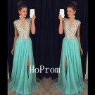Short Sleeve Prom Dress,A-Line Prom Dresses,Long Evening Dress