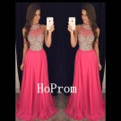 Long Chiffon Prom Dress,Sparkly Crystal Prom Dresses,Evening Dress