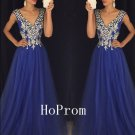 Gorgeous A-Line Prom Dress,Plunging Neck Prom Dresses,Evening Dress