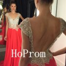 Plunging Neck Prom Dress,Backless Prom Dresses,Long Evening Dress