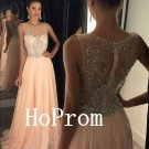 Floor Length Prom Dress,Crystals Prom Dresses,Long Evening Dress