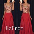 V-Neck Prom Dress,Long Prom Dresses,Red Evening Dress