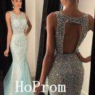 Sparkly Halter Prom Dress,Mermaid Prom Dresses,Long Evening Dress