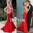 Red Mermaid Prom Dress,Beaded Prom Dresses,Evening Dress