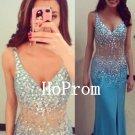 Open Back Prom Dress,Blue V-Neck Prom Dresses,Evening Dress