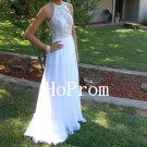 A-Line Prom Dress,White Chiffon Prom Dresses,Evening Dress