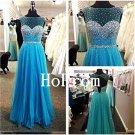 Crystal Beaded Prom Dress,A-Line Prom Dresses,Evening Dress