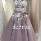 Knee Length Prom Dress,Applique Prom Dresses,Evening Dress
