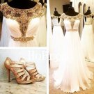 Round Neck Prom Dress,Applique Gold Prom Dresses,Evening Dress