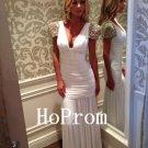 White Long Prom Dress,Short Sleeve Prom Dresses,Evening Dress
