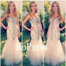 Champagen Prom Dress,Mermaid Long Prom Dresses,Evening Dress