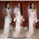 Long Sleeve Prom Dress,Applique Prom Dresses,Evening Dress