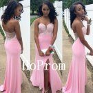 Sweetheart Pink Prom Dress,Beaded Prom Dresses,Evening Dress