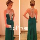 O-Neck Prom Dress,Green Long Prom Dresses,Evening Dress