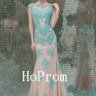 Green Applique Prom Dress,Sleeveless Prom Dresses,Evening Dress