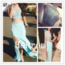 Two Piece Prom Dress,Cap Sleeve Prom Dresses,Evening Dress