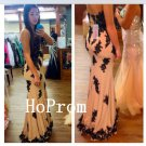 Black Applique Prom Dress,Sheath Prom Dresses,Evening Dress
