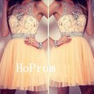 Lace Tulle Prom Dress,Short Prom Dresses,Evening Dress