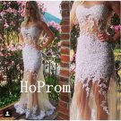 See Through Prom Dress,Sleeveless White Prom Dresses,Evening Dress