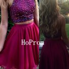 Two Piece Homecoming Dress,Short Beaded Homecoming Dresses,Prom Dress