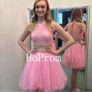Pink Short Homecoming Dress,Two Piece Homecoming Dresses,Prom Dress