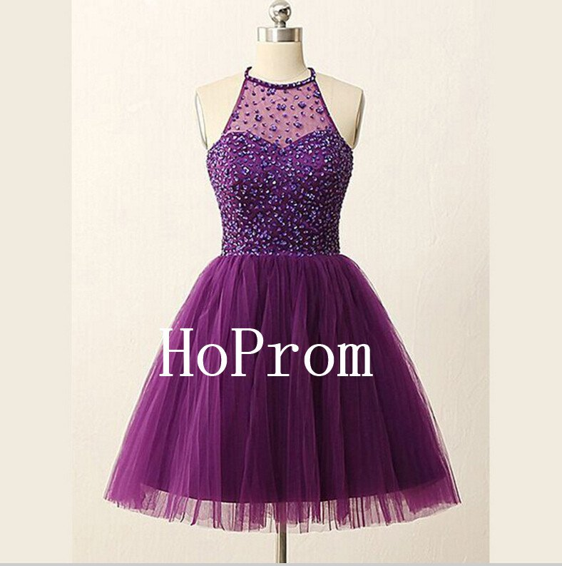 Short Beaded Homecoming Dress,Purple Tulle Homecoming Dresses,Prom Dress