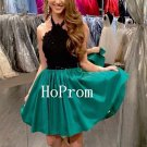 Black Halter Homecoming Dress,Short Homecoming Dresses,Prom Dress