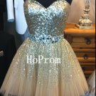 Sweetheart Short Homecoming Dress,Sequins Beaded Homecoming Dresses,Prom Dress