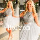 Silver Beading Homecoming Dress,Short Tulle Homecoming Dresses,Prom Dress