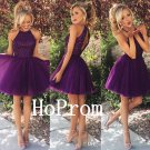 Halter Purple Homecoming Dress,Short Beaded Homecoming Dresses,Prom Dress