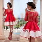 Long Sleeve Homecoming Dress,Red Lace Homecoming Dresses,Prom Dress