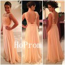 Lace Chiffon Prom Dress,Backless Prom Dresses,Evening Dress