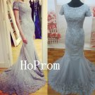 Short Sleeve Prom Dress,Mermaid Long Prom Dresses,Evening Dress